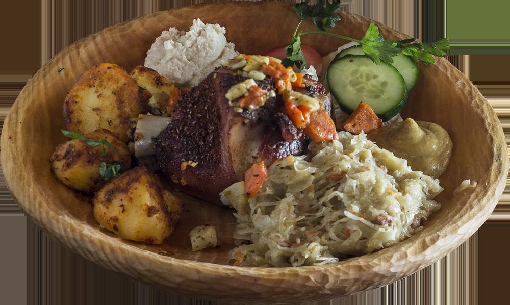 Golonko w sosie na żywieckim porterze, podawane z musztardą i chrzanem (podawane według wagi za 100 g. Dodatki dokupcie, jak lubicie)