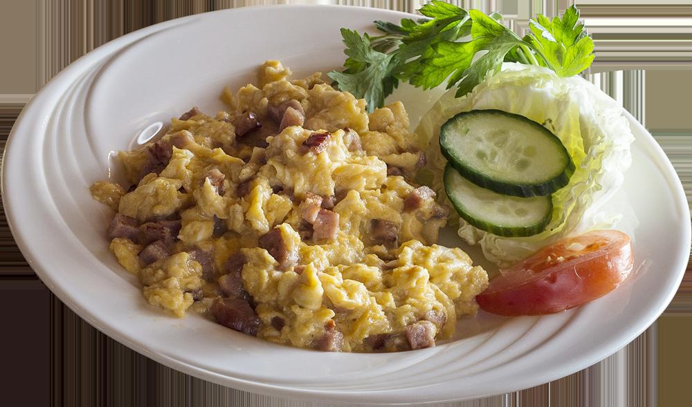 Jajecznica z trzech jaj (do wyboru na szynce, boczku lub masełku) z pieczywem