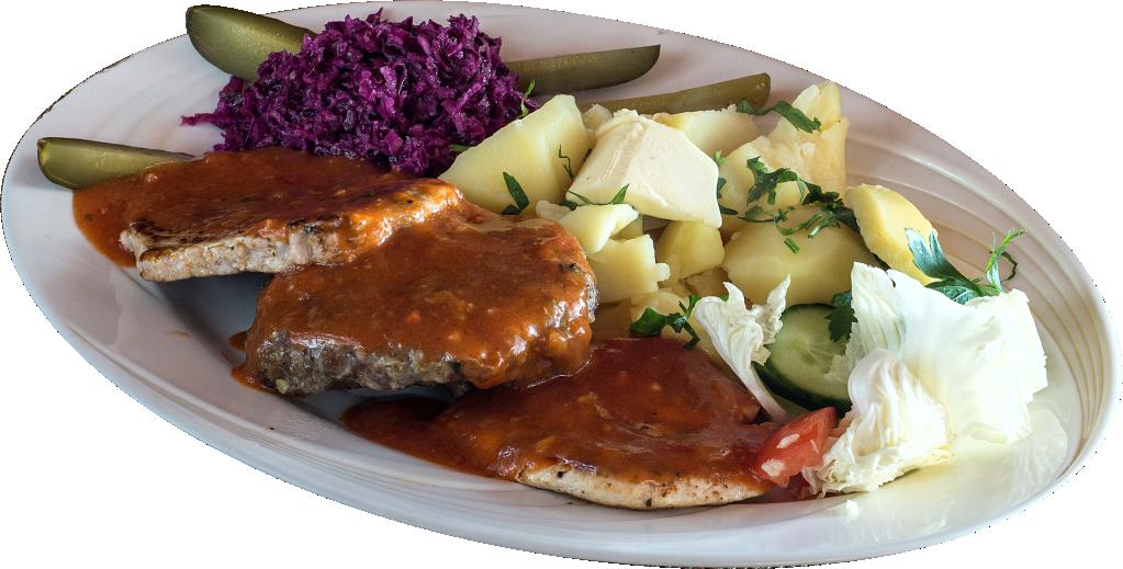 Półmisek mięs w diabelskim sosie, w tym: siekana jagnięcina, chudo kura i schabik (mięsa te, co na talerzu, a dodatki dokupcie, jak lubicie)