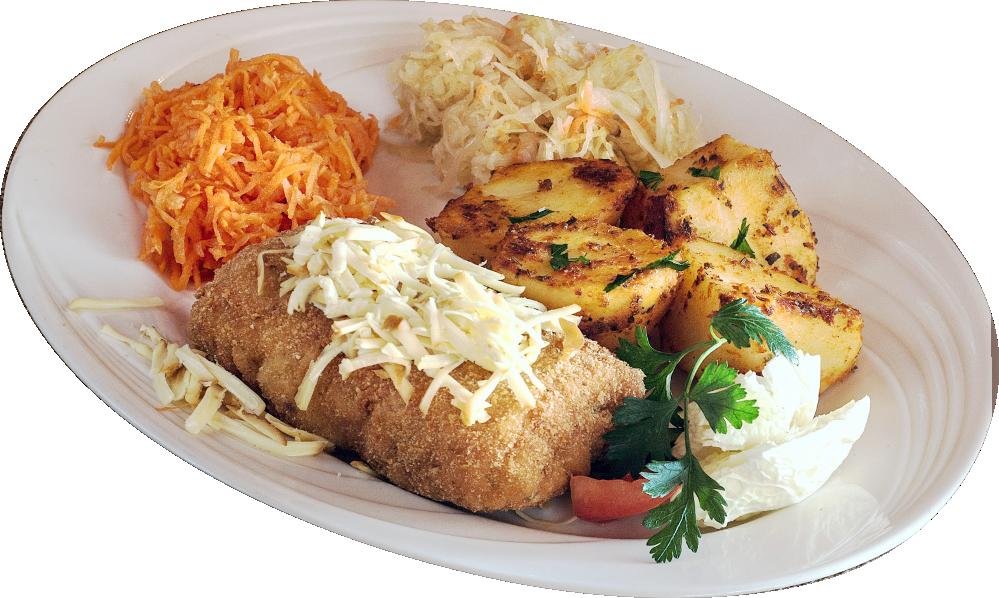 Przekładaniec Gaździny ze schabu, z szynką i żółtym serem z odrobiną czosnku, smażony w panierce (mięso to, co na talerzu, a dodatki dokupcie, jak lubicie)