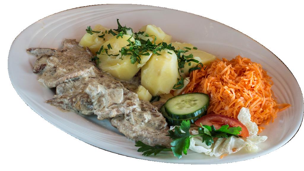 Trzy polędwiczki wieprzowe w sosie grzybowym (mięsa te, co na talerzu, a dodatki dokupcie, jak lubicie)