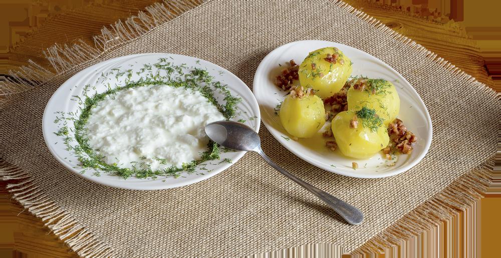 Zsiadłe mleko z ziemniaczkami okraszonymi skwarkami i posypanymi koprem
